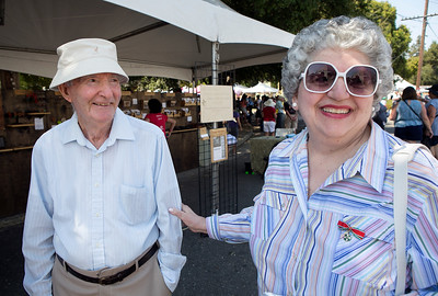 From right, Mathilde Oliverio, 77, and Italo Oliverio, 87, enjoy the Italian Family Festa, at History Park inside Kelley Park, in San Jose, Calif., on Saturday, August 27, 2016. (LiPo Ching/Bay Area News Group)