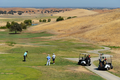 Golfers prepare to tee off on the 9th hole at Roddy Ranch Golf Club in Antioch, Calif., on Monday, Aug. 8, 2016. The golf course will be closing after Aug. 11th. (Jose Carlos Fajardo/Bay Area News Group)
