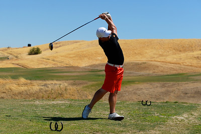 Logan Goulding, of Tracy, tees off on the 5th hole at Roddy Ranch Golf Club in Antioch, Calif., on Monday, Aug. 8, 2016. The golf course will be closing after Aug. 11th. (Jose Carlos Fajardo/Bay Area News Group)