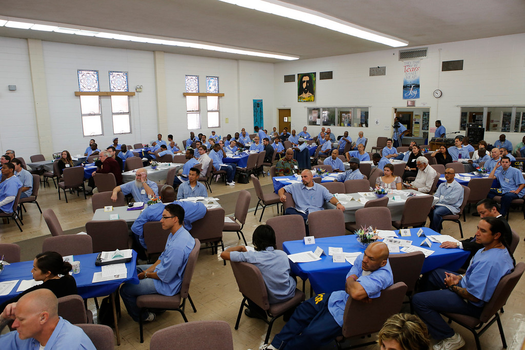 . On June 22, 2013, Kid CAT hosted a luncheon in the San Quentin Prison chapel for fellow inmates, prison officials and outside visitors. The event celebrated the launch of the group\'s curriculum, a 24-week course Kid CAT is now teaching to more than 80 other prisoners. The class encourages inmates to delve into their childhood for insight on eight topics, including masculinity, identifying emotions, and empathy/compassion. (John Green/Bay Area News Group)