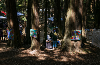 Art booths are set up among the Redwood trees at the King's Mountain Art Fair at the King's Mountain Firehouse in Woodside, Calif., on Monday, September 5, 2016. (LiPo Ching/Bay Area News Group)