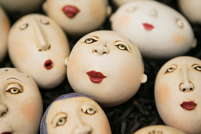 Anne Klocko's porcelain personalities sculptures are displayed for sale during the King's Mountain Art Fair at the King's Mountain Firehouse in Woodside, Calif., on Monday, September 5, 2016. (LiPo Ching/Bay Area News Group)