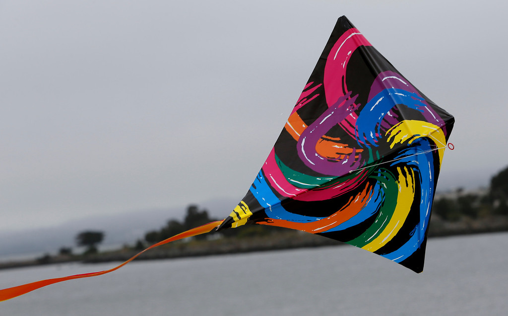 . One of the many kites flown at Oyster Point Marina and Park in South San Francisco, Calif., on Saturday. (John Green/Bay Area News Group)