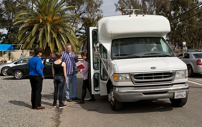 Unidentified people enter a shuttle outside of Life Choices, a residential drug rehabilitation facility in San Jose, Calif., on Wednesday, Mar. 5, 2014.   (LiPo Ching/Bay Area News Group)