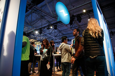 The Facebook Messenger booth at the F8 Developer Conference draws attendees side Fort Mason Tuesday afternoon, April 12, 2016, in San Francisco, Calif. (Karl Mondon/Bay Area News Group)