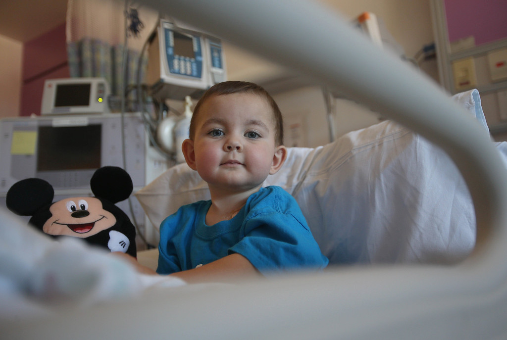 . Matthew Ouimet, 2, of Antioch, waits to be discharged from the UCSF Benioff Children\'s Hospital in San Francisco Calif., on Wednesday, Aug. 14, 2013. Matthew spent 73 days at UCSF after undergoing a liver/kidney transplant on June 4. (Jane Tyska/Bay Area News Group)