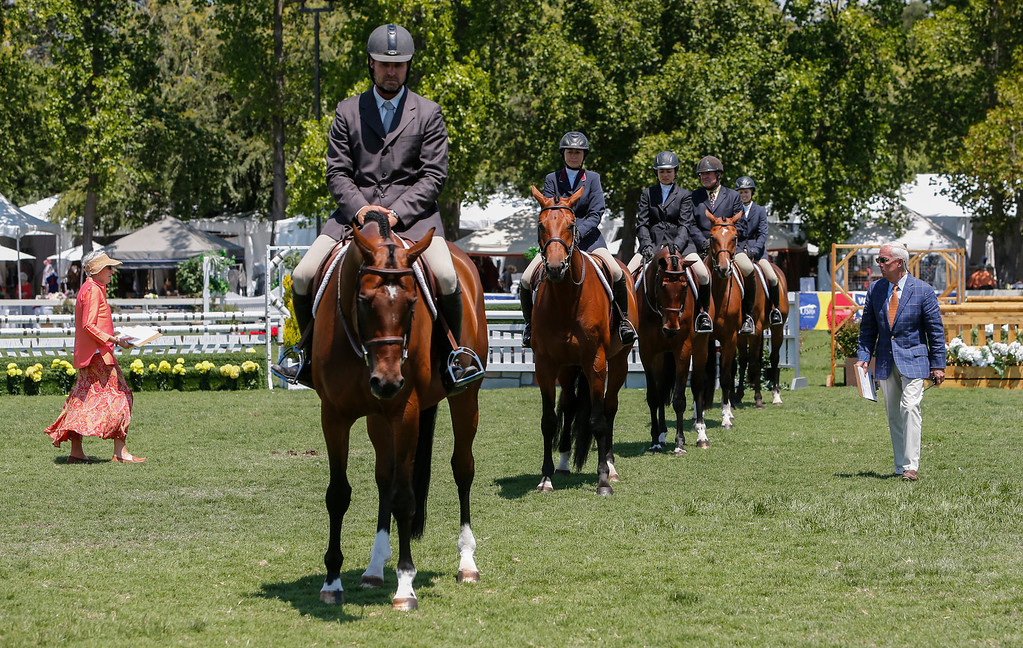 . Judges inspect entires in the hunter competition at the 43 annual Menlo Charity Horse Show at the Menlo Circus Club in Atherton, Calif., on Tuesday, Aug. 6, 2013. The show benefits Vista Center for the Blind and Visually Impaired, and runs  August 6-11. (John Green/Bay Area News Group)