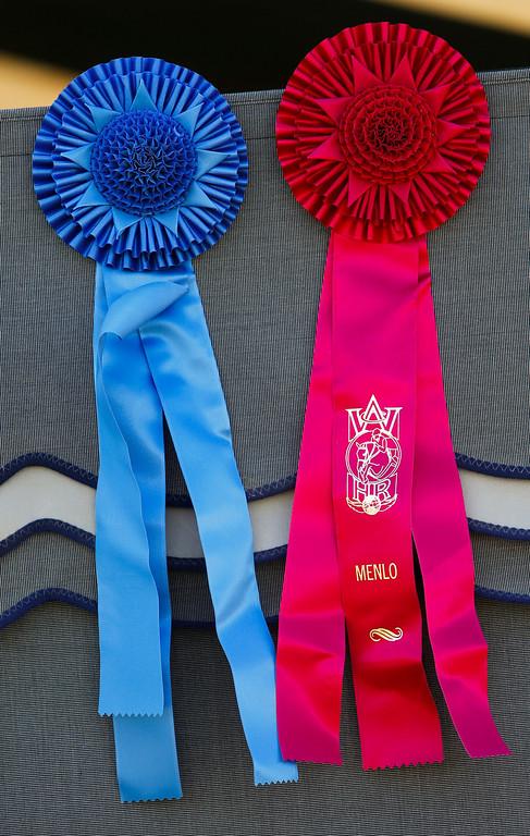 . Winning ribbons hang on barn at the 43 annual Menlo Charity Horse Show at the Menlo Circus Club in Atherton. (John Green/Bay Area News Group)