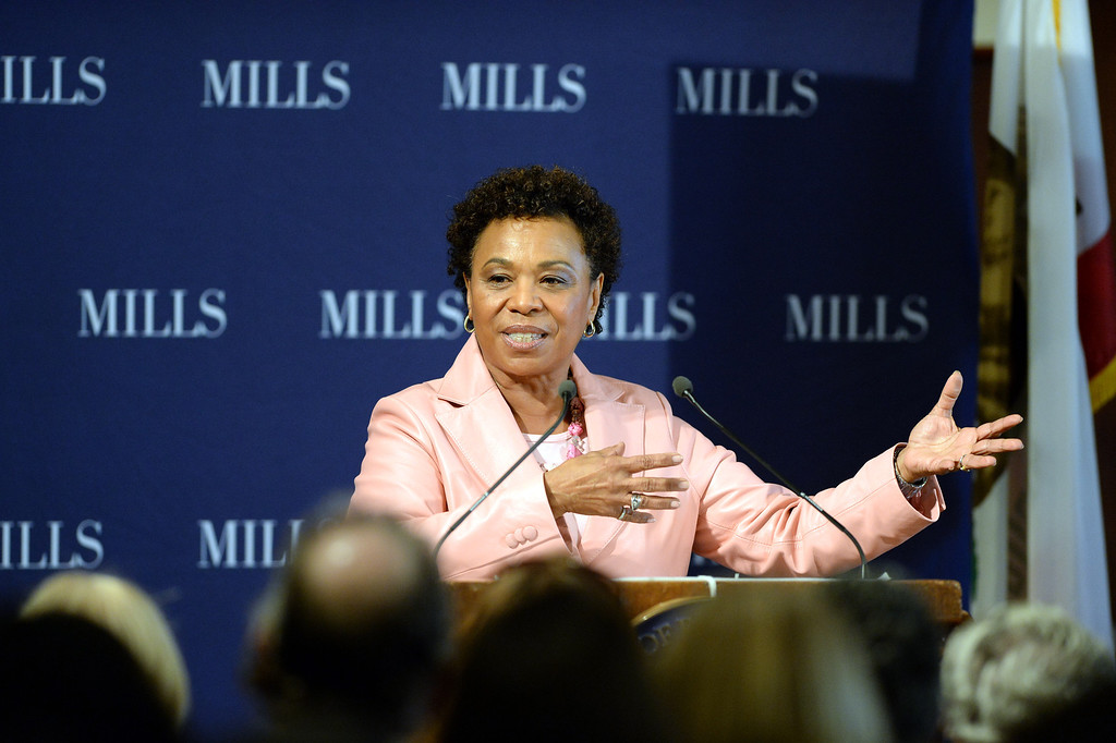 . Congresswoman Barbara Lee speaks at a forum on women\'s economic empowerment and unveiling of a commemorative stamp honoring Shirley Chisholm held at Mills College in Oakland, Calif., on Saturday, Feb. 1, 2014. The forum and unveiling featured Mills alum Congresswoman Barbara Lee and Congresswoman Nancy Pelosi, among others. Shirley Chisholm was the first African American elected to Congress. (Dan Honda/Bay Area News Group)
