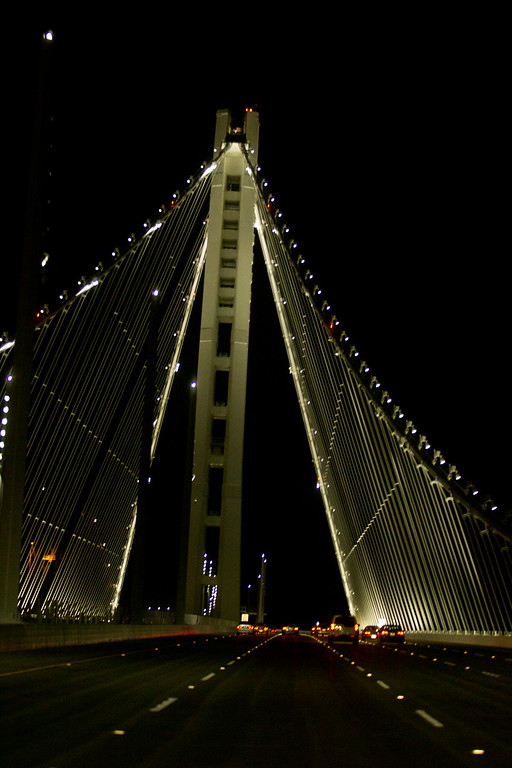 . Driving on the new east span of the Bay Bridge on the first night it opened to the public, Tuesday, Sept. 3, 2013 in Oakland, Calif. (D. Ross Cameron/Bay Area News Group)
