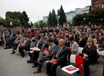 A large crowd listens to speakers during a dedication ceremony for the Mexican Museum's new site on Mission Street across from the Yerba Buena Gardens in San Francisco, Calif., Tuesday morning, July 19, 2016. The museum will reside in the first four floors of a 510-foot residential tower. (Karl Mondon/Bay Area News Group)