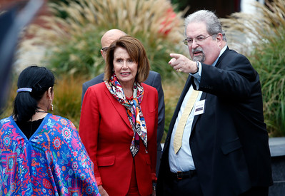 Congresswoman Nancy Pelosi listens to Andrew M. Kluger, chair of the Mexican Museum, before a dedication groundbreaking ceremony for the museum's new home next to St. Patrick's Church on Mission Street, Tuesday morning, July 19, 2016, in San Francisco, Calif.  The museum will reside in the first four floors of a 510-foot residential tower. (Karl Mondon/Bay Area News Group)