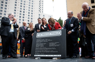 Dignitaries, including Nancy Pelosi (third from right) unveil the cornerstone for the new Mexican Museum at a site on Mission Street across from the Yerba Buena Gardens, Tuesday morning, July 19, 2016, in San Francisco, Calif.  The museum will reside in the first four floors of a 510-foot residential tower. (Karl Mondon/Bay Area News Group)