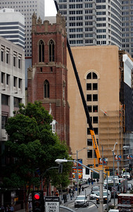 The new Mexican Museum site sits next to St. Patrick's Church on Mission Street across from the Yerba Buena Gardens, Tuesday morning, July 19, 2016, in San Francisco, Calif.  The museum will reside in the first four floors of a 510-foot residential tower. (Karl Mondon/Bay Area News Group)