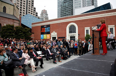 Congresswoman Nancy Pelosi speaks at the dedication ceremony for the new Mexican Museum being built next to St. Patrick's Church and the Contemporary Jewish Museum, Tuesday morning, July 19, 2016, in San Francisco, Calif. (Karl Mondon/Bay Area News Group)