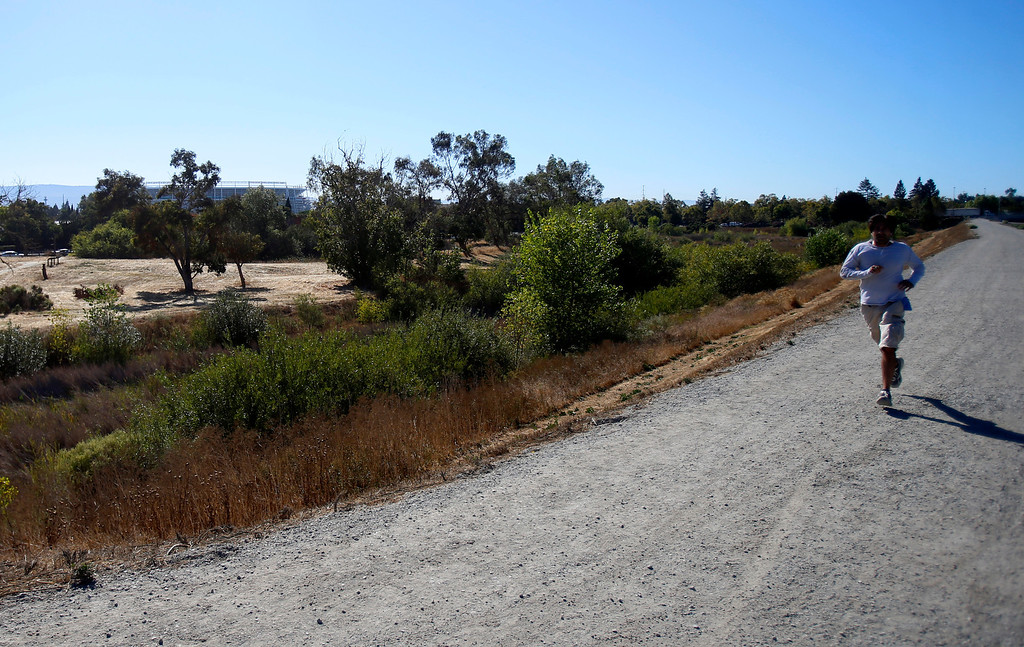. Rahul Batra runs past Ulistac Natural Area in Santa Clara, Calif. on Thursday, Sept. 19, 2013.  The future stadium for the San Francisco 49ers is in the background.  The 49ers and the city of Santa Clara are proposing to develop part of a 40-acre natural open space into soccer fields to make way for extra parking next to the new stadium.  (Nhat V. Meyer/Bay Area News Group)