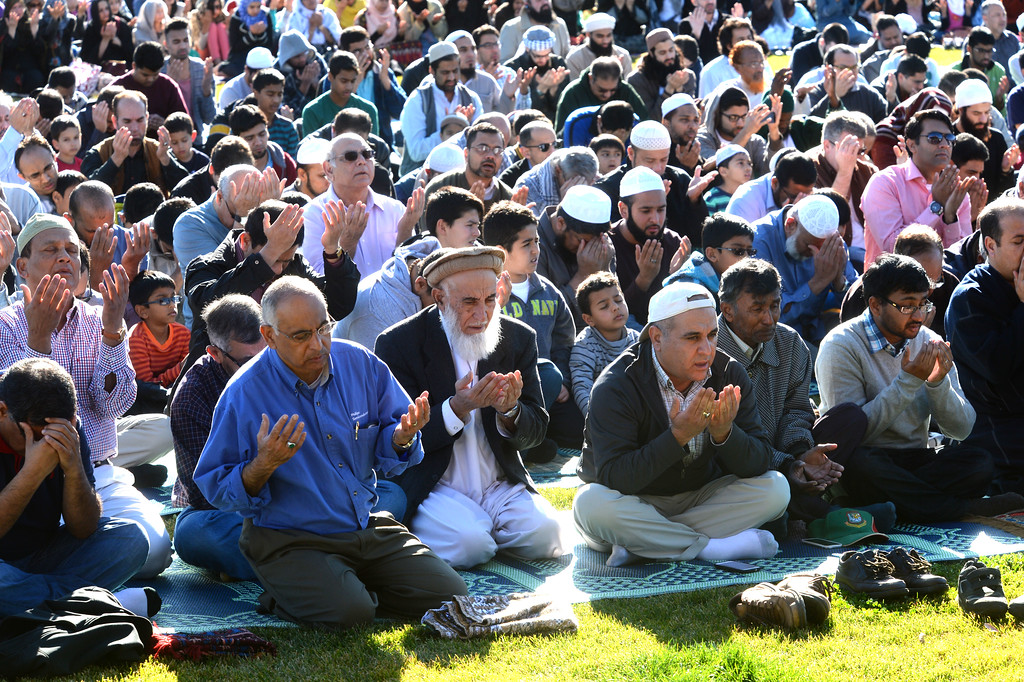 ". Part of the large group from the Muslim community taking part in a ""Salatul Istisqa\"" a prayer for rain held at the Alameda County Fairgrounds in Pleasanton, Calif., on Saturday, Feb. 1, 2014. Because of California\'s on going drought a prayer for rain was held by the San Francisco Bay Area chapter of the Council on American-Islamic Relations. (Doug Duran/Bay Area News Group)"
