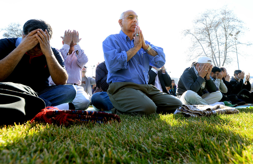 ". Muhammed Jawaid, of San Ramon, was among a large group from the Muslim community taking part in a ""Salatul Istisqa\"" a prayer for rain held at the Alameda County Fairgrounds in Pleasanton, Calif., on Saturday, Feb. 1, 2014. Because of California\'s on going drought a prayer for rain was held by the San Francisco Bay Area chapter of the Council on American-Islamic Relations. (Doug Duran/Bay Area News Group)"