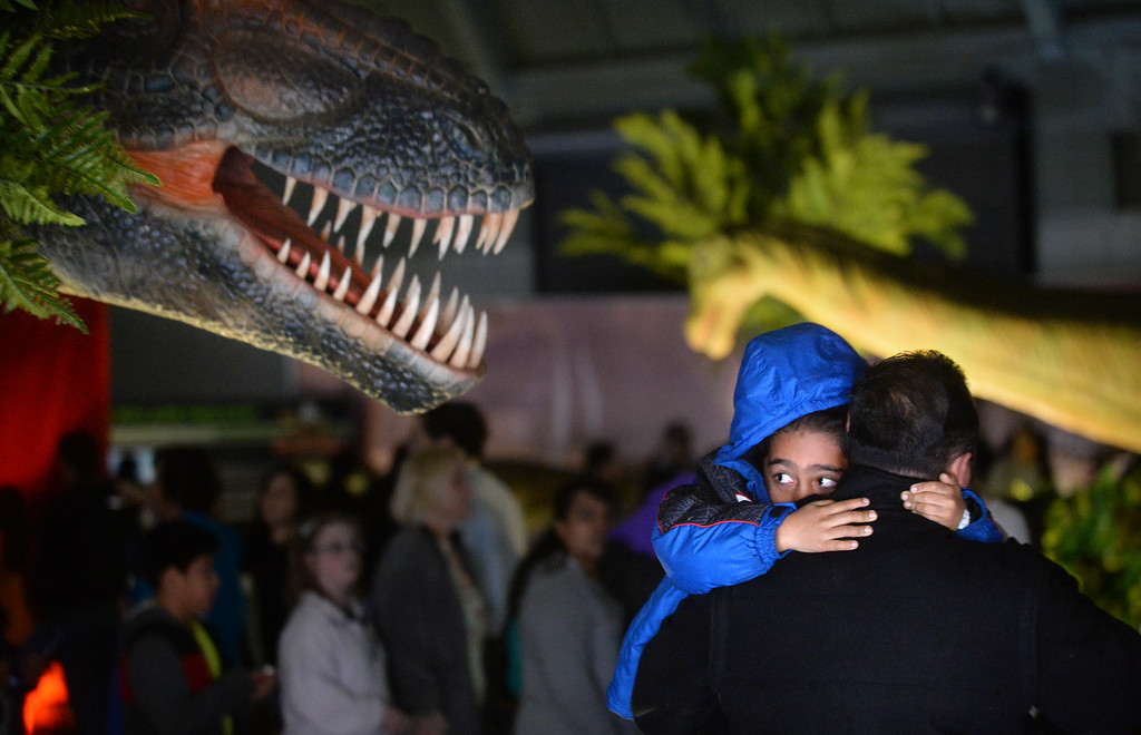 """. Miguel Sisneros, 5, of San Pablo, is held by his father Juan Sisneros, as he peeks at one of the animatronic dinosaurs at the Jurassic Quest event held this weekend at the Alameda County Fairgrounds in Pleasanton, Calif., on Saturday, Feb. 8, 2014. The indoor exhibit features  life-size, realistic animatronic dinosaurs from the Jurassic, Triassic and Cretaceous periods. Visitors can interact with the dinosaurs and learn about them and even ride a few. There will be a T-Rex and Triceratops fossil digs where young paleontologists can uncover long hidden dinosaurs bones. Their is also a \""""Dino Bounce\"""" children\'s play area with several, towering, dinosaur theme inflatable mazes. (Doug Duran/Bay Area News Group)"""