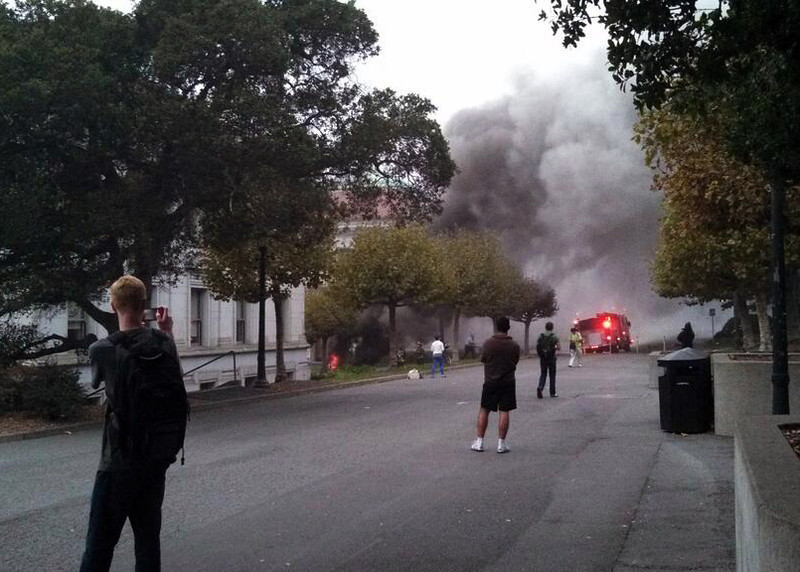 . An explosion at UC Berkeley sends smoke across campus on Monday. Power was knocked out and evacuations were ordered on campus.   (Courtesy of Kohar Minassian)