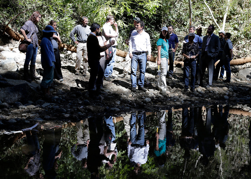 . Members of the U.S. Environmental Protection Agency and partner agencies attend an event to showcase stream restoration efforts done at San Francisquito Creek in Menlo Park, Calif. on Thursday, Sept. 5, 2013. (Gary Reyes/Bay Area News Group)