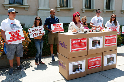 Maria Ruiz speaks during a protest calling for the impeachment of Santa Clara County Superior Court Judge Aaron Persky at the Old Courthouse in San Jose, Calif., on Monday, Aug. 1, 2016. protesters, upset by the light jail sentence he gave former Stanford student Brock Turner for sexually assaulting an unconscious woman, have submitted 1.2 million signatures in a petition to oust the judge. (Photo by Gary Reyes/Bay Area News Group)