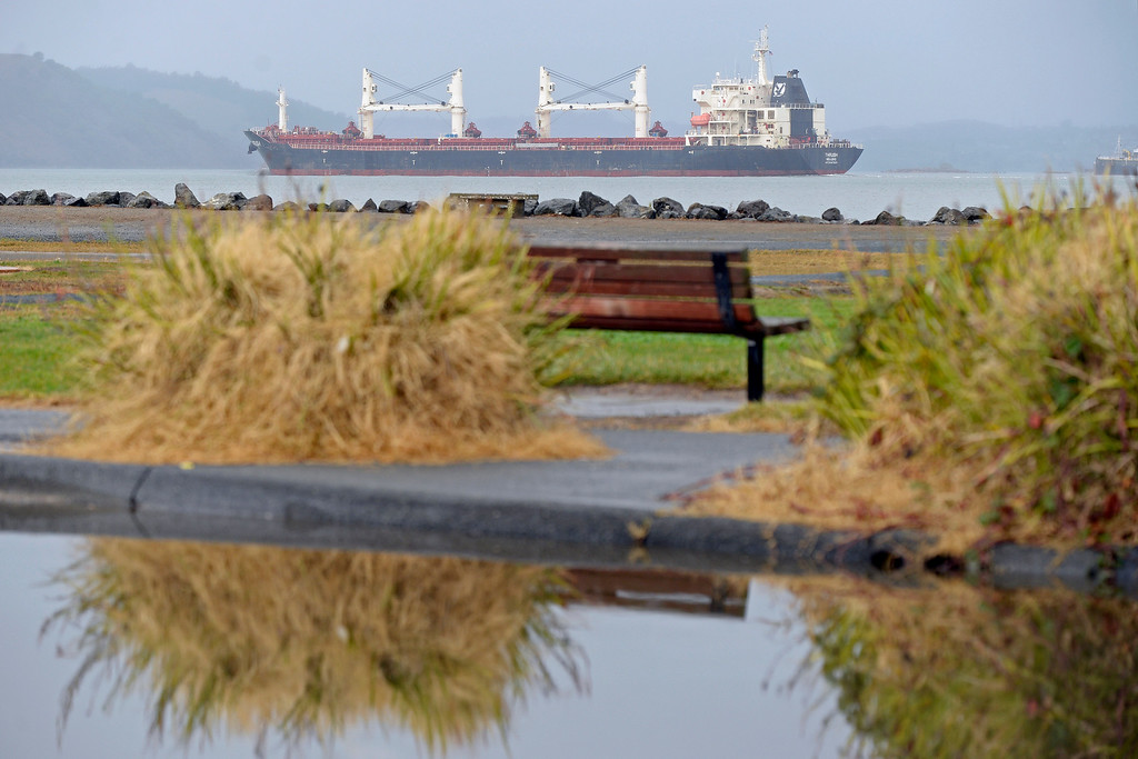 . Visibility is poor due to weather as a large tanker heads west on the Carquinez Strait in Martinez, Calif., on Saturday, Feb. 8, 2014. (Jose Carlos Fajardo/Bay Area News Group)