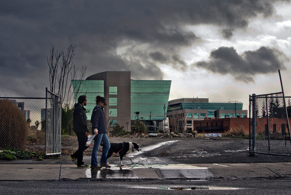 . From left, Ryan Alpers and Julia Jackson from San Jose, walk Taj, under cloudy skies in downtown San Jose, Calif., on Saturday., Feb.8, 2014.   (LiPo Ching/Bay Area News Group)