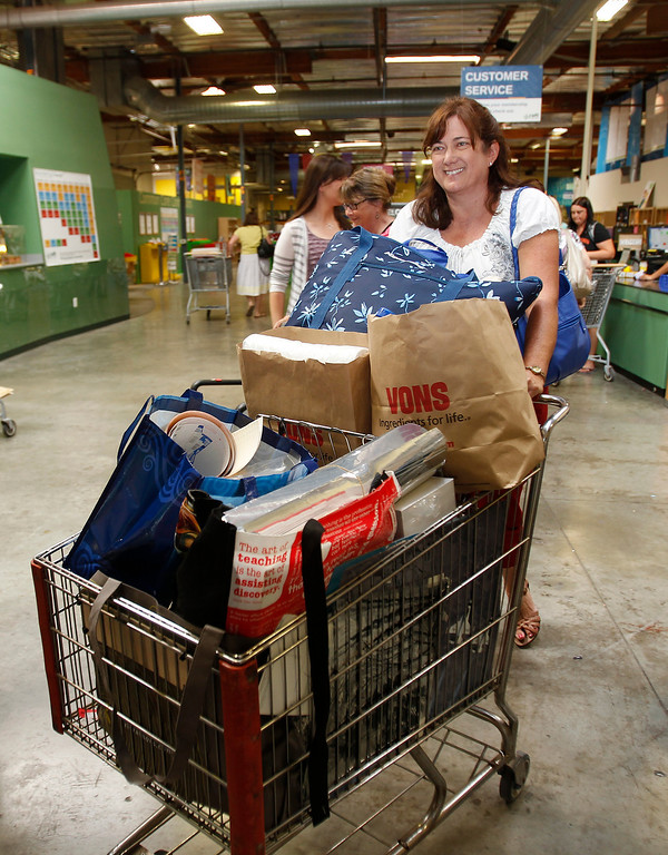 . Clovis Unified science teacher Lynn White leaves with a full cart of supplies and only spent $107.75 at Resource Area For Teaching in San Jose, Calif., on Saturday, Aug. 10, 2013. (Josie Lepe/Bay Area News Group)