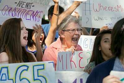 At center, Ardys Sandell, cheers in support of congressional candidate Ro Khanna at a news conference outside Rep. Mike Honda's district office in San Jose, Calif., on Wed., Aug. 27, 2014.  (LiPo Ching/Bay Area News Group)
