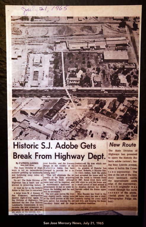 . A 1965 news clipping from the San Jose Mercury News shows how the 180-year-old Roberto Adobe, one of San Jose\'s most historic structures, was saved from destruction when Interstate 280 was built. The clipping hangs on the wall of the new Roberto Adobe and Sunol House Museum in San Jose, Calif., Monday, Aug. 22, 2016.  (Karl Mondon/Bay Area News Group)