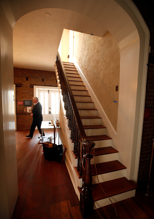. A stairway leads up to the second floor of the Roberto Adobe and Sunol House Museum in San Jose, Calif., Monday, Aug. 22, 2016. (Karl Mondon/Bay Area News Group)