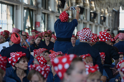 Thousands of Rosie the Riveters participate in a Rosie the Riveter event held at the Craneway Pavilion in Richmond, Calif., on Saturday, Aug. 13, 2016. The Rosie the Riveter/WWII Home Front National Historical Park, along with the Rosie the Riveter Trust and the City of Richmond, made an attempt to break the Guinness World Book of Records record for most people dressed as Rosie the Riveter. The Home Front Festival, in Marina Bay Park, followed with music, food and fun for Rosie's of all ages. (Dan Honda/Bay Area News Group)