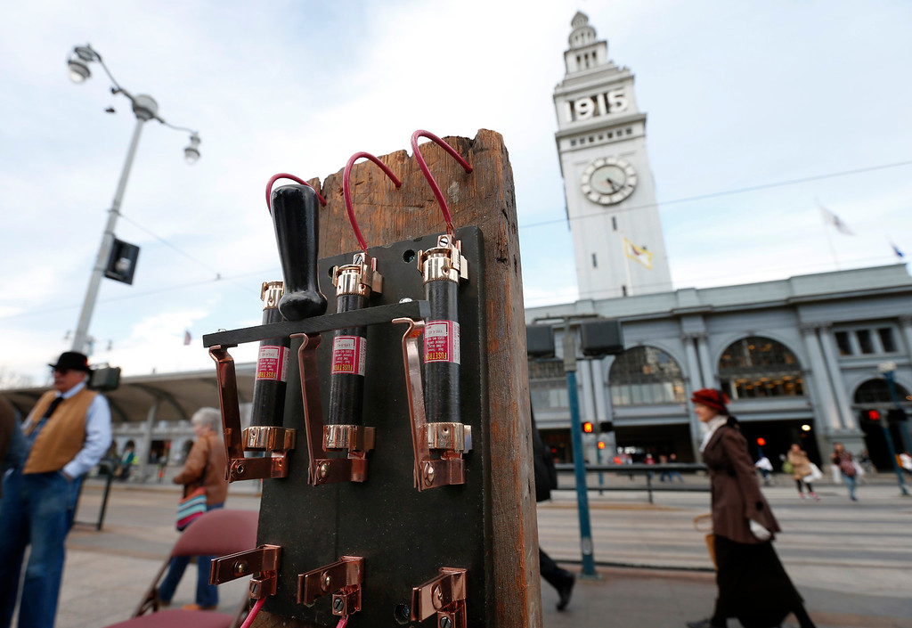 . A large circuit breaker is readied for the ceremonial relighting of the Ferry Building Tuesday evening, March 3, 2015, as part of the 100th anniversary of the 1915 Panama-Pacific International Exposition. (Karl Mondon/Bay Area News Group)