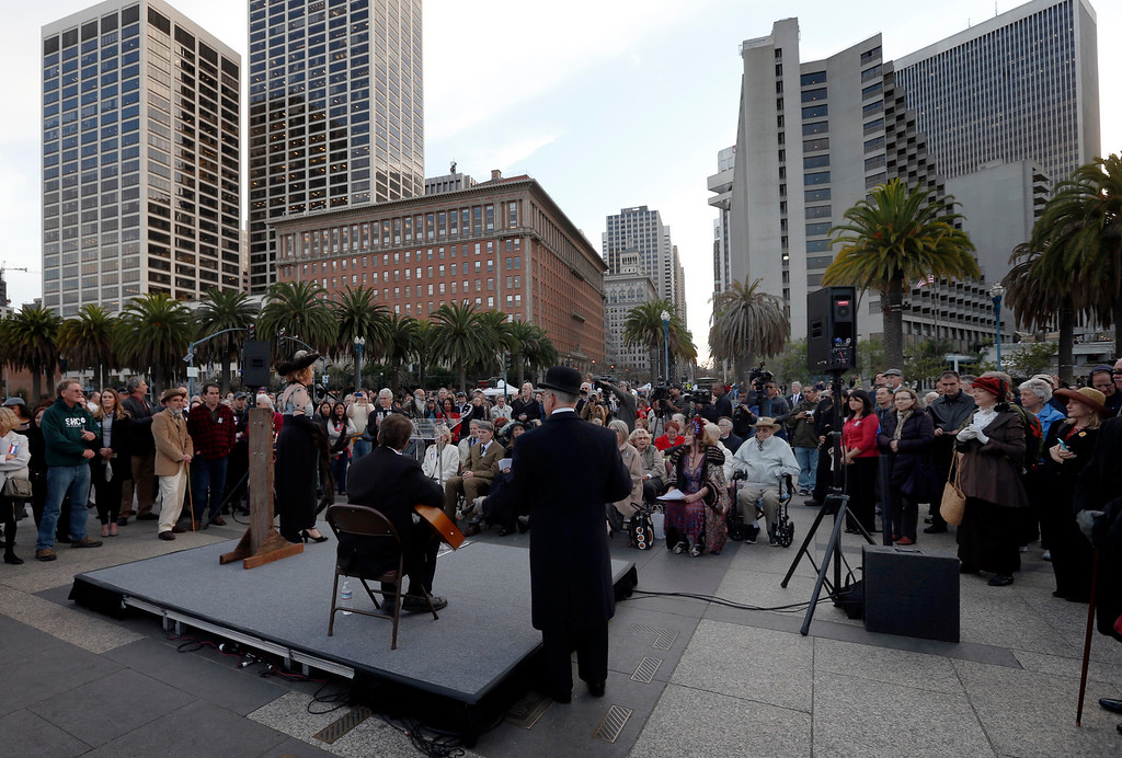 . A large crowd gathers along the Embarcadero in San Francisco, Calif., for the ceremonial relighting of the Ferry Building Tuesday evening, March 3, 2015. The event commemorates the 100th anniversary of the 1915 Panama-Pacific International Exposition. (Karl Mondon/Bay Area News Group)