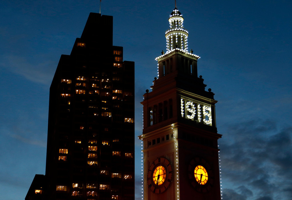 . A ceremonial relighting of the San Francisco Ferry Building took place Tuesday evening, March 3, 2015, as part of the 100th anniversary of the 1915 Panama-Pacific International Exposition. (Karl Mondon/Bay Area News Group)