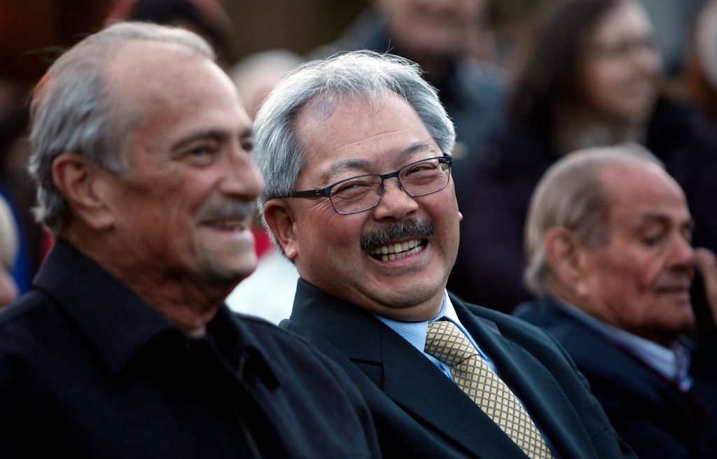 . San Francisco Mayor Ed Lee waits for the ceremonial relighting of the San Francisco Ferry Building Tuesday evening, March 3, 2015, as part of the 100th anniversary of the 1915 Panama-Pacific International Exposition. (Karl Mondon/Bay Area News Group)