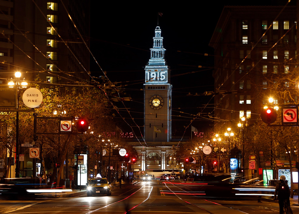 . The Ferry Building is lit up in commemoration of the 100th anniversary of the 1915 Panama-Pacific International Exposition on Tuesday evening, March 3, 2015, in San Francisco, Calif. (Karl Mondon/Bay Area News Group)