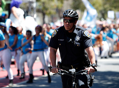 San Francisco police were out in force with ramped up security at the the SF Pride parade in the wake of the Orlando shootings, Sunday, June 26, 2016, in San Francisco, Calif. (Karl Mondon/Bay Area News Group)