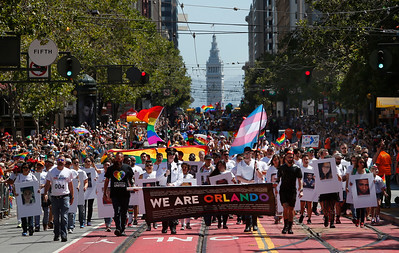 Orlando shooting victims are remembered during the SF Pride parade on Sunday, June 26, 2016, in San Francisco, Calif. (Karl Mondon/Bay Area News Group)