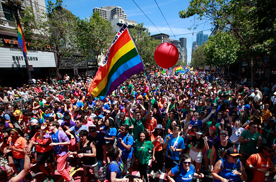 Market Street is a sea of rainbow colors as the SF Pride parade marches in San Francisco, Calif., on Sunday, June 26, 2016. (Karl Mondon/Bay Area News Group)