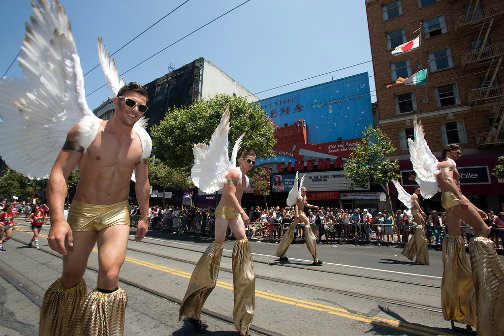 . Male dancers on stilts walk along Market Street at the 43rd annual San Francisco Pride Parade, Sunday, June 30, 2013, in San Francisco, Calif. (D. Ross Cameron/Bay Area News Group)