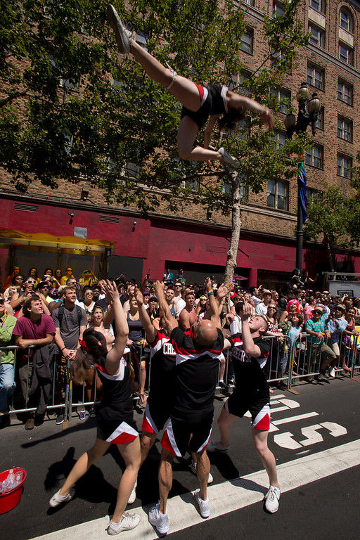 . The San Francisco Cheer Squad performs along Market Street at the 43rd annual San Francisco Pride Parade, Sunday, June 30, 2013, in San Francisco, Calif. (D. Ross Cameron/Bay Area News Group)