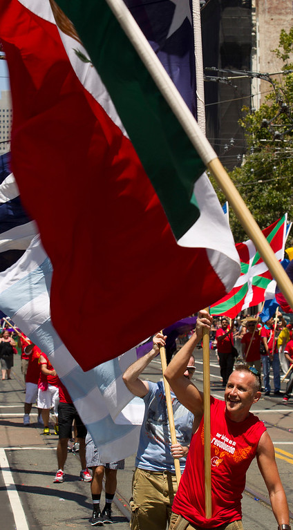 . Flagbearers march along Market Street at the 43rd annual San Francisco Pride Parade, Sunday, June 30, 2013, in San Francisco, Calif. (D. Ross Cameron/Bay Area News Group)