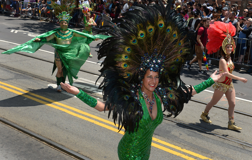 . A peacock headdress dazzles the cheering crowd at the 42nd San Francisco Pride Celebration and Parade on Market Street in San Francisco, Calif., on Sunday, June 30, 2013. (Susan Tripp Pollard/Bay Area News Group)