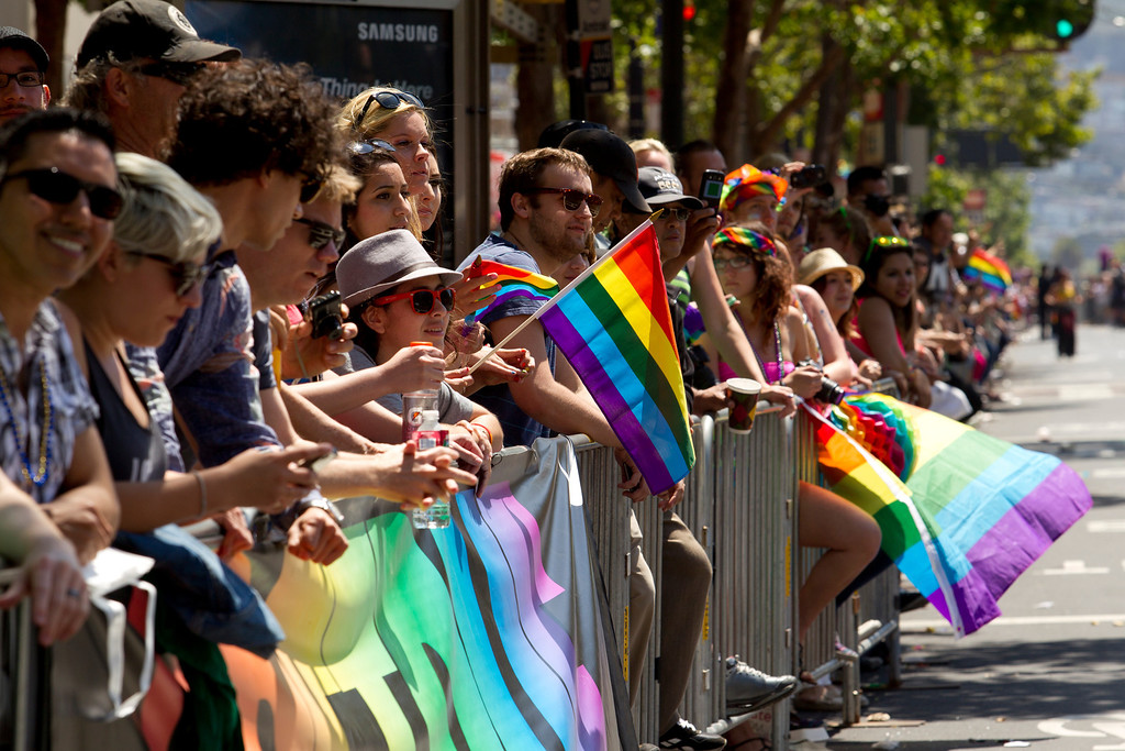 . A large crowd lines Market Street for the 43rd annual San Francisco Pride Parade, Sunday, June 30, 2013, in San Francisco (D. Ross Cameron/Bay Area News Group)