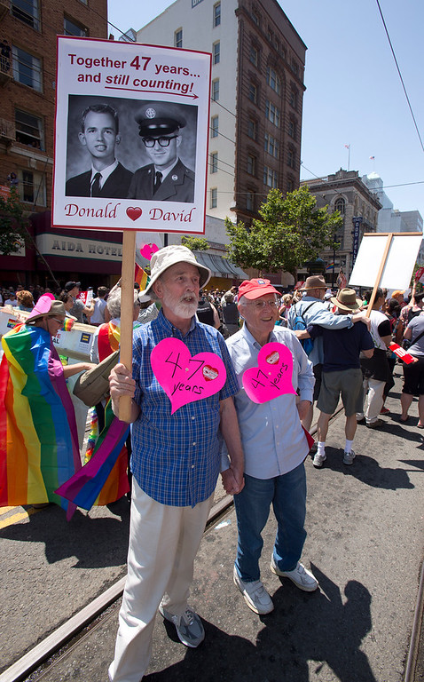 . Donald Bird, left, and partner David Young celebrate a relationship that predates the start of the annual San Francisco Pride Parade, Sunday, June 30, 2013, in San Francisco, Calif. (D. Ross Cameron/Bay Area News Group)