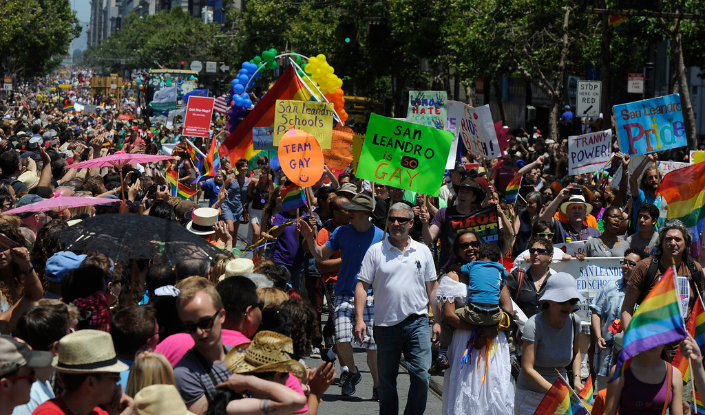 . Participants from San Leandro march in the 42nd San Francisco Pride Celebration and Parade as it travels along Market Street in San Francisco, Calif., on Sunday, June 30, 2013. (Susan Tripp Pollard/Bay Area News Group)