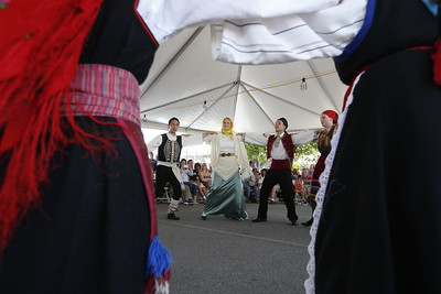 The Polemistes dancers perform at the San Jose Greek Festival Sunday afternoon, June 5, 2016, at Saint Nicholas Greek Orthodox Church, in San Jose, Calif. (Karl Mondon/Bay Area News Group)