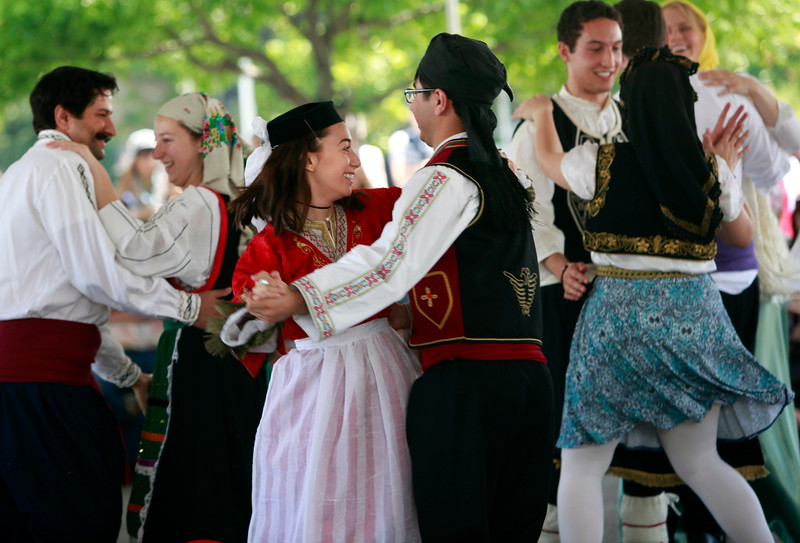 The Polemistes dancers wear ethnic costumes during a performance at the San Jose Greek Festival Sunday afternoon, June 5, 2016, at Saint Nicholas Greek Orthodox Church, in San Jose, Calif. (Karl Mondon/Bay Area News Group)